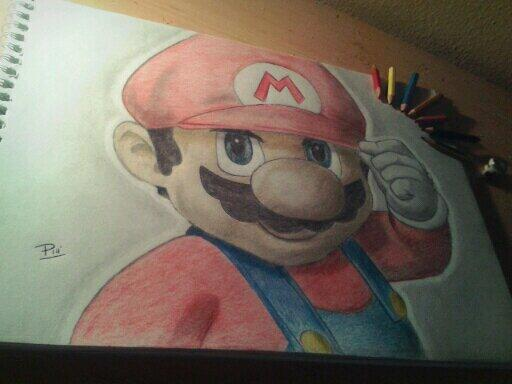 Mario drawn in pencil, by P E L I