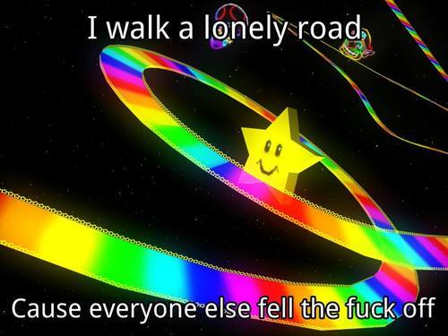 It can be lonely on Rainbow road