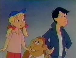 Donkey Kong Jr and two other guys in Donkey Kong Jr cartoon