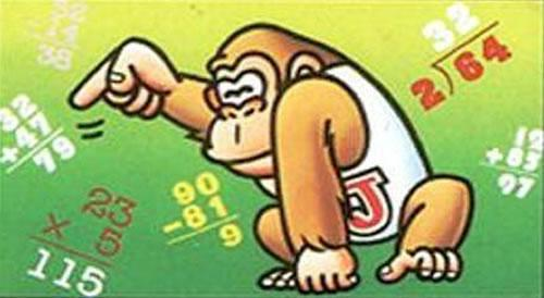 Donkey Kong Jr partying on down on the European cover of Donkey Kong Jr. Math