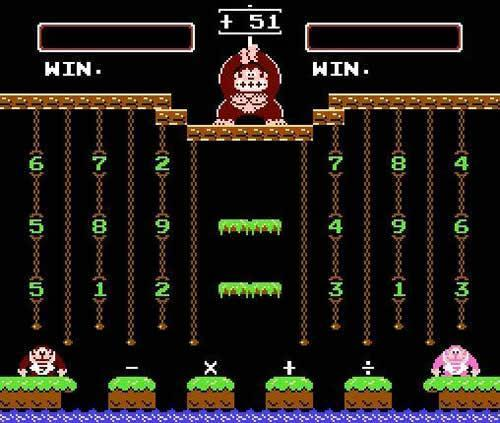 A screenshot from Donkey Kong Jr. Math showing both Brown and Pink versions of Donkey Kong Jr. Math