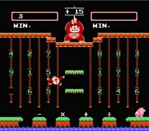 Donkey Kong Junior Math screenshot, player 2 has ragequit?