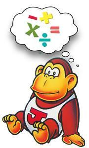 Donkey Kong Jr thinking of Maths, poor guy