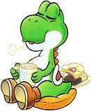 Yoshi sat down drinking tea