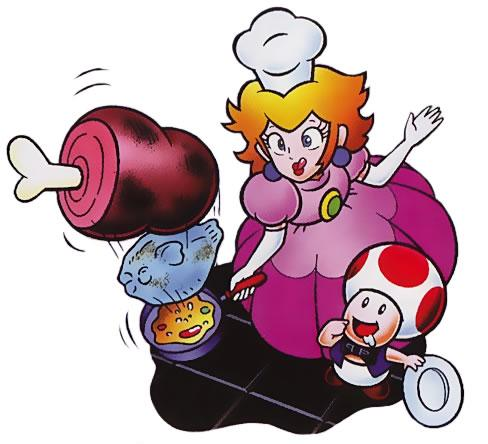 Princess Peach looks focused as she flips some gourmet delights in Chef.