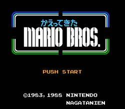 Kaettekita Mario Bros title screen