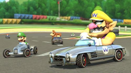 Wario, Luigi and Donkey Kong sporting the three new mercedes karts in Mario Kart 8