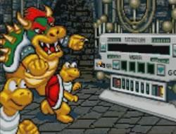 Bowser and his Koopas using the Timulator to steal artifacts