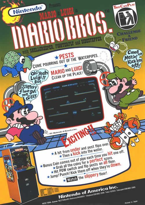 An advertisement flyer by Nintendo of America for 2 player Mario Bros on the arcade machine