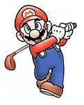 Mario swings his club in Mario Golf