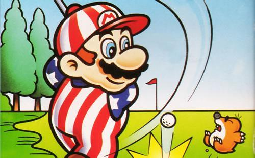 An artwork of Mario playing golf from the U.S/European versions of NES Open Tournament Golf.