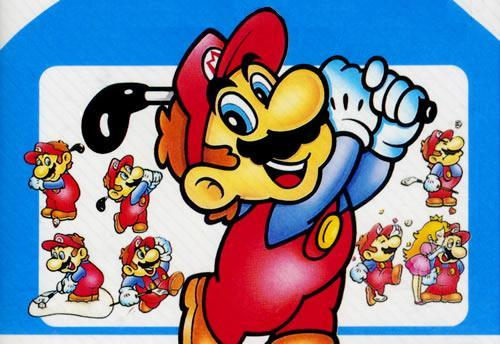Mario swinging his golf clubs, with lots of smaller versions in different poses in the background