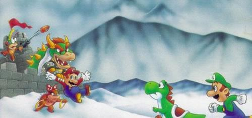 Mario being kidnapped by Bowser, Lemmy and Wendy O Koopa.