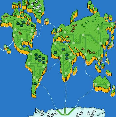 The Mario is Missing map as seen by the Globulator in the SNES version