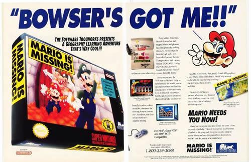 A poster advertising the SNES version of Mario is Missing