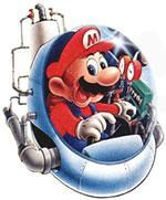 Mario flying the timulator as he travels through time