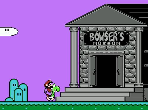 Mario rides Yoshi up to Bowsers Museum in the NES version of Mario's Time Machine