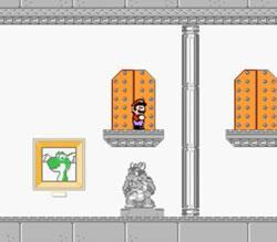 Mario using a recoloured version of the Bowser's door sprites from Super Mario World & the Bowser sprite from SMB3