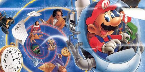 Mario flying the timulator on a Mario's Time Machine poster