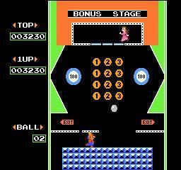 The bonus stage in the NES's Pinball featuring Mario and Pauline