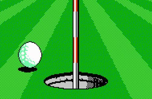 A Golf Ball not quite making it to the hole in NES Open Tournament Golf