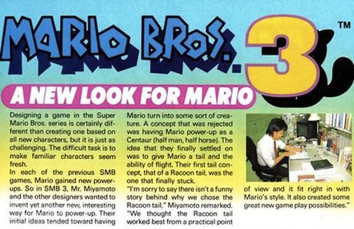 An extract from Nintendo Power Magazine about Super Mario Bros. 3