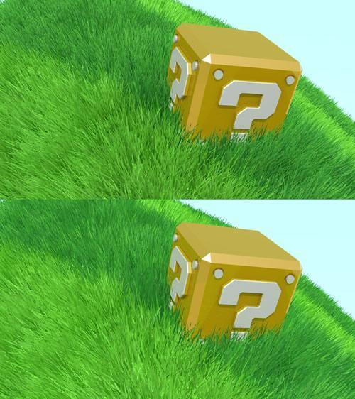 Stylized realistic question block and grass vs Toon version