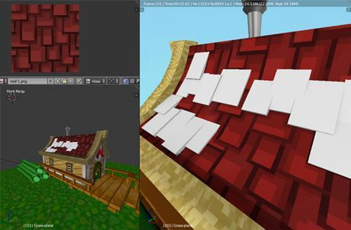 Attempts to render 3D roof tiles for Mario's Pad