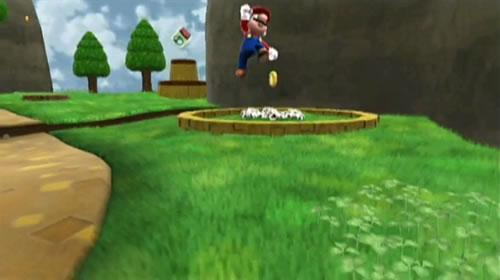 Mario jumping in Super Mario Galaxy