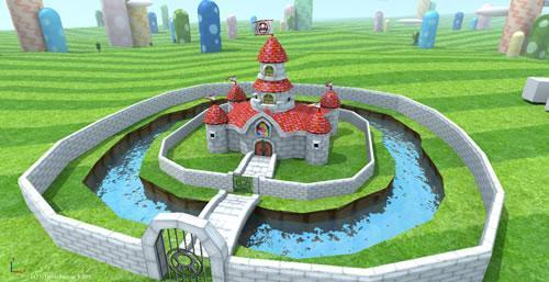 The Mushroom Castle at Midday with zigzag mushroom hill pattern applied