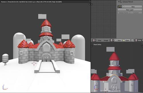 Super Mario CGi: Bricks being applied to Peaches castle