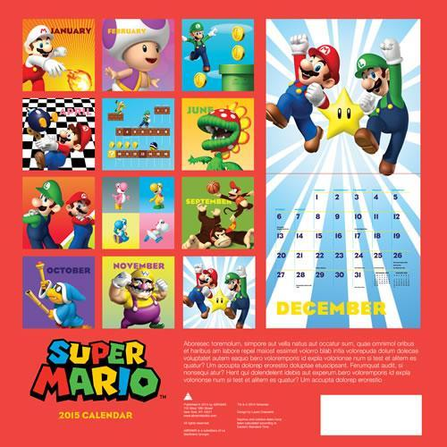 Super Mario Bros 2015 Calendar back