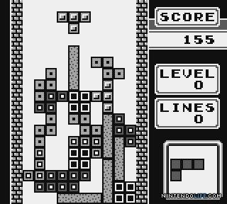 A screenshot of the Game Boy version of Tetris