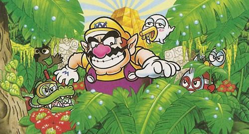 Wario and some bad guys in the jungle in Wario Land 4