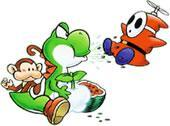 Yoshi spitting seeds at a Flyguy