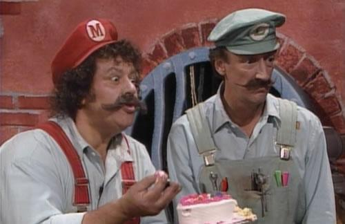 Lou Albano (left) as Mario and Danny Wells (right) as Luigi