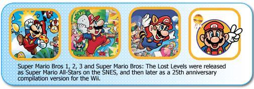 Super Mario Bros 1,2,3 and the Lost levels were re-released as Super Mario Allstars
