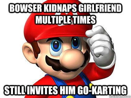 Good Guy Mario - Invites his mortal enemies go karting