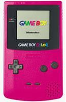 The Gameboy Colour, in a bright fuschia colour