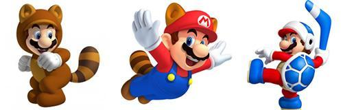 Mario Powerups in Super Mario 3D Land include Tanooki Mario, Racoon Mario and Boomerang Bro Suit Mario!