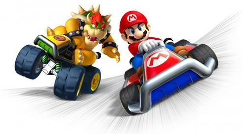 Mario and Bowser going head to head in Mario Kart 7