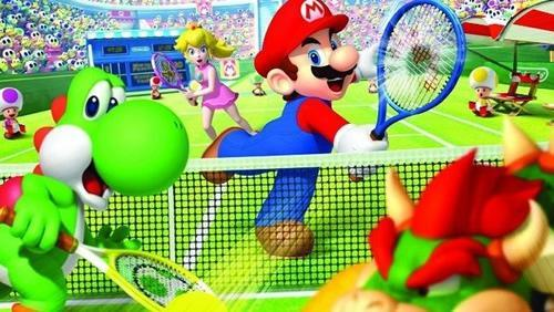 Mario and Peach scoring past Yoshi and Bowser in doubles!