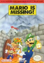 Mario is Missing Edutainment title on the NES box cover