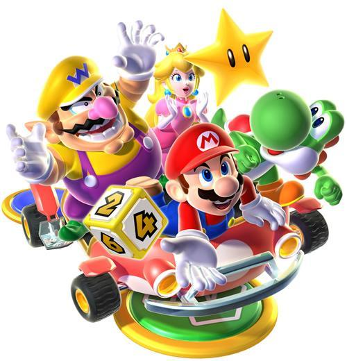Mario, Wario, Yoshi and the Princess trying to grab a Power Star