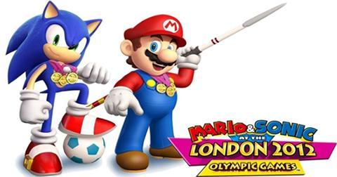 Sonic and Mario with their Olympic gold medals from London 2012