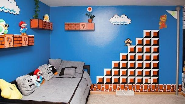 Super Mario themed bedroom suprise for AJ 2