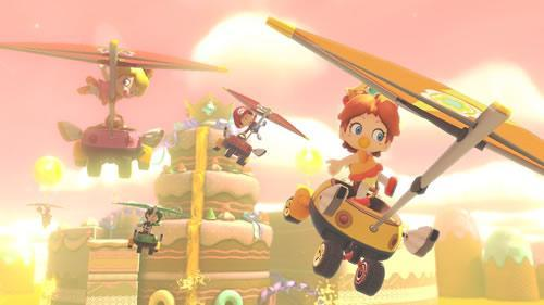 Baby versions of Daisy, Peach, Mario and Luigi in Mario Kart 8