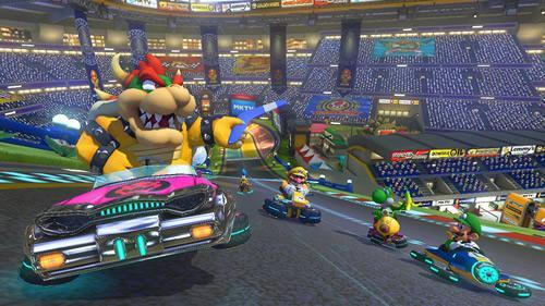 Bowser, an oldskool heavyweight racer in Mario Kart 8