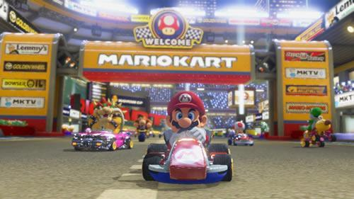 Mario, a medium weight class racer in Mario Kart 8