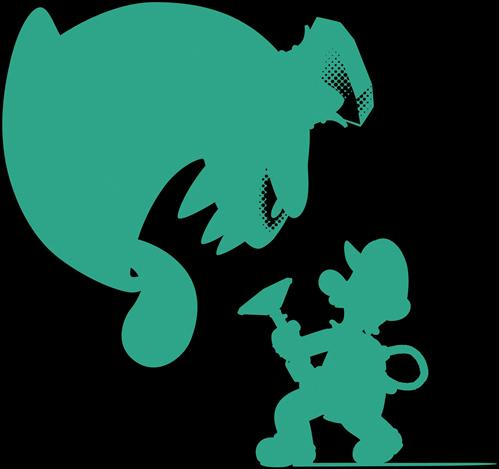 Green silhouettes of King Boo and Luigi